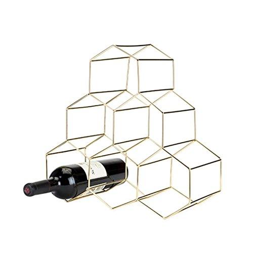 Stainless Steel Hexagon Bar (Viski 5213 Belmont Geo Wine Rack Freestanding Cabinets, Gold)