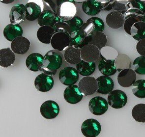 Beading Station 1440-Piece Flat Back Brilliant 14-Cut Round Rhinestones, 3mm-10ss, Emerald