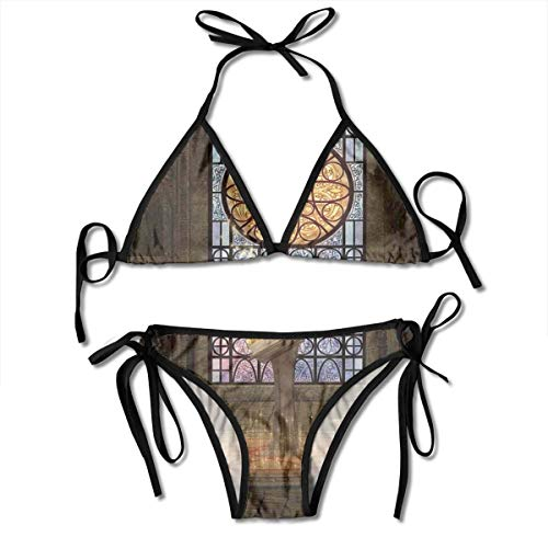 Women's Bikini Set,Lectern On Pentagram Symbol Medieval Architecture Candlelight in Dark Spell Altar,Two Pieces Swimsuit