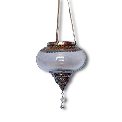 Whole House Worlds The Cape Cod Iconic Pendant Lantern, Glass Hurricane, Squat Onion Globe, Fancy Metal and Crystal Details, Chains 5 1/2 Inches Diameter, 11 Inches (including Chain and Loop) By WHW by Whole House Worlds (Image #2)