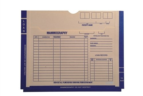 X-Ray Jacket - Preprinted Mammography Blue Both Sides, Front Pocket, 11''H x 14''W, 11pt Manila (Box of 100)