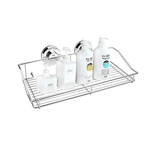 Locisne Stainless Steel Vacuum Suction Caddy Shelf Rustproof with two Rotate & Lock Rectangle Super Strong Wall Holder for Kitchen Bathroom Storage Basket by Locisne