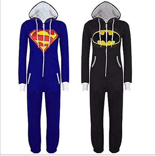 Tresbon Products Fashion Unisex Superman and Batman Sleepwear Onesie (Medium Blue) -