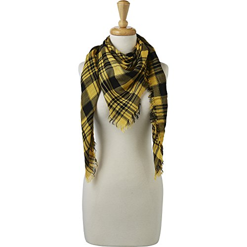 Tickled Pink Women's Game Day Sports Team Apparel Scarf or Wrap, Square Plaid/40x40, 40 x 40