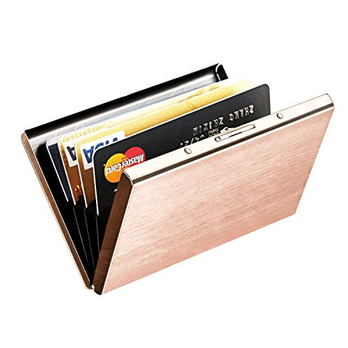 RFID Credit Card Holder for Women, MaxGear Stainless Steel Credit Card Case Metal Credit Card Holder Slim Metal Card Cases Bronze Gold
