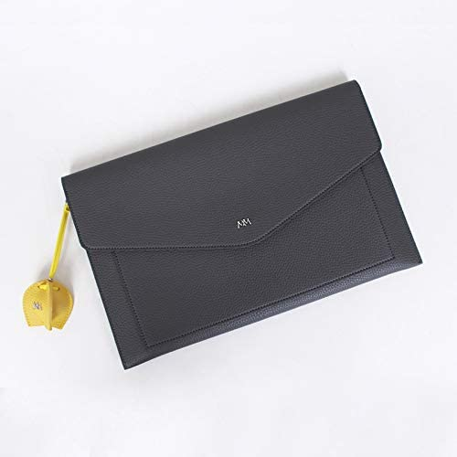 pino2 Gray Leather 14 inch Laptop Sleeve miim kfashion Boutique Synthetic Leather