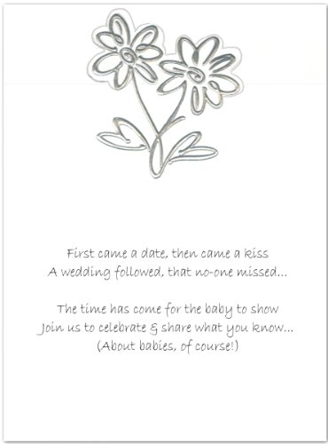 Baby Invitations Shower Daisy (Silver Foil Daisies Baby Shower Invitations - Set of 20)