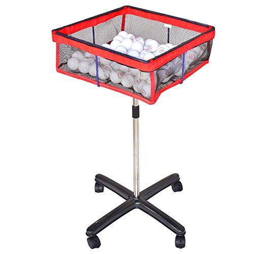 CHAOFAN Movable Square Multi-Ball Storage Mesh Bag with Height Adjustable Stand, Table Tennis Ball Mesh Basin Equipment…