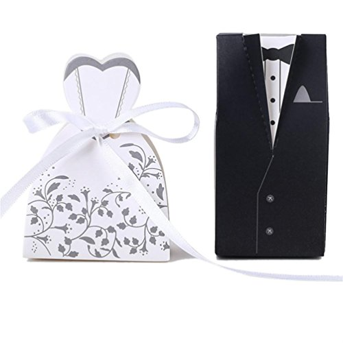 IGBBLOVE 100pcs Wedding Favor Candy Box Bride & Groom Dress Tuxedo Party Favo -Pack of 100 (Favor Groom And Bride Boxes)