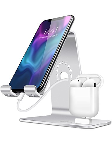 Bestand 2 in 1 Apple iWatch Stand, Airpods Charger Dock, Phone Desktop Tablet Holder for Airpods, iPhoneX/XS/XS Max/XR/8/8 plus/Samsung Galaxy S10/S9/S/iPad,Silver (Airpods Charging Case NOT Included) (Best Tablet Not Ipad)