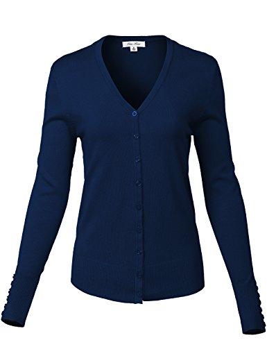 Plus Size Slim Fit V-Neck Long Sleeve Button Details Wrist Cardigans