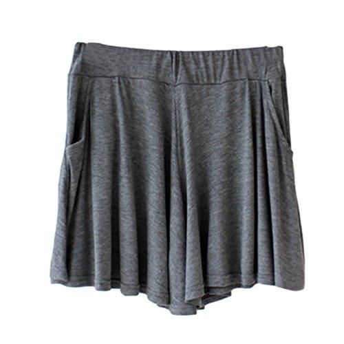 Women's Easy Shorts Elastic Waist Culottes Comfortable Relax Wear (Grey) Culottes Elastic Waist Shorts Flare Shorts Knee Length Loose Fit Shorts Mini Skirt Sheer Spats by PT&Key (Image #1)