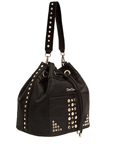 Gio Cellini E341 - Bolso estilo cartera de cuero sintético para mujer negro