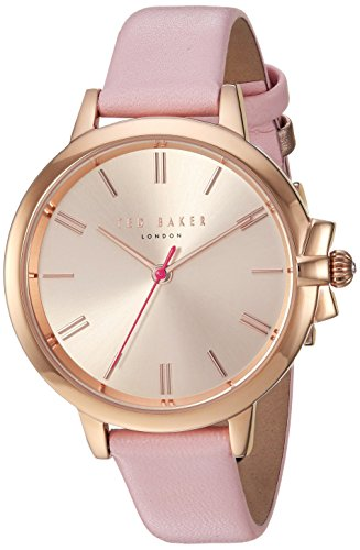 Ted Baker Women's 'RUTH' Quartz Stainless Steel and Leather Casual Watch, Color:Pink (Model: TE50267005)