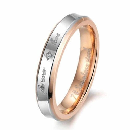 "MoAndy Women Stainless Steel Wedding Band Rings ""Forever Love"" Engagement Bands Rose Gold Size 7"