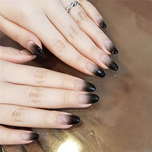 Asooll 24Pcs False Nails Black Gradient Elegant Long Coffin Fake Nails Full Cover Party Acrylic Nails Art for Women and ()