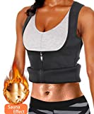 Rolewpy Women Sweat Neoprene Waist Trainer Hot Slimming Sauna Vest Tummy Control Body Shaper for Weight Loss (Black Workout Suit, L(US 14))