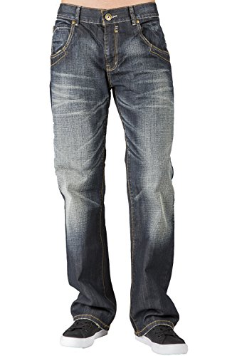 Level 7 Men's Relaxed Boot Cut Premium Denim Jeans Whisker Hand Sanding Zipper Pockets - Heart Pocket Jeans