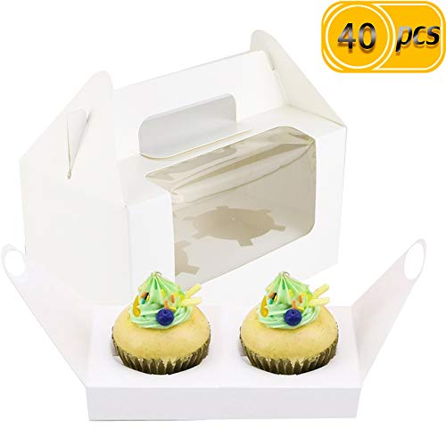UPlama 40PCS White 2 Holders Cupcake Boxes, Clear Window Inserts Handle Cupcake Muffins Cupcake Carriers Pastry Containers Bakery Wrapping Party Favor Packing For Wedding Cupcake Favor Boxes]()
