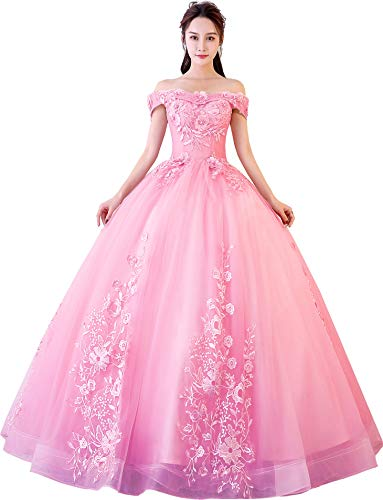 Okaybrial Women's Sweet 16 Quinceanera Dresses Lightpink Off Shoulder Lace Long Prom Ball Gowns Size 8 (Best Sweet Sixteen Dresses)