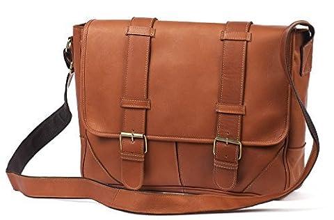 Claire Chase Sorrento Laptop Messenger Bag, Computer Bag in Saddle - Claire Chase Leather Messenger