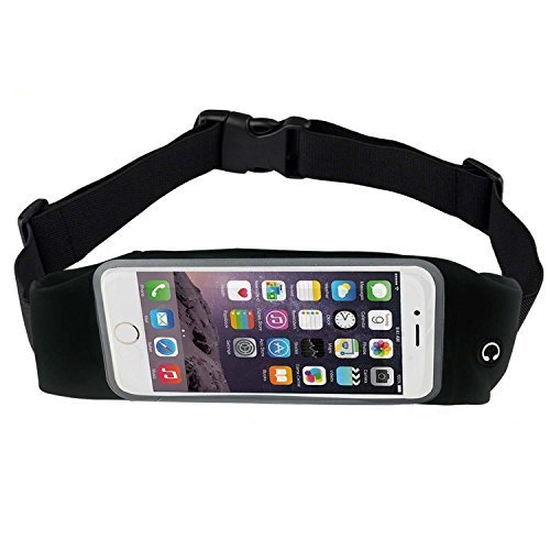 BOGZON Exercise, Running Waist Pack for 5.5 Inch Screen Cellphone - Outdoor Belt Bag - Touch Operating Directly With Transparent Film, Black