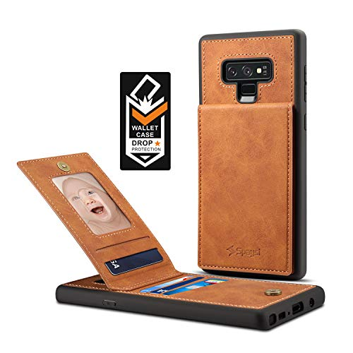Samsung Galaxy Note 9 Card Holder Case, Note 9 Wallet Case Spaysi Slim, Galaxy Note 9 Folio Leather case, Flip Cover, Gift Box, for Note9 (Brown)