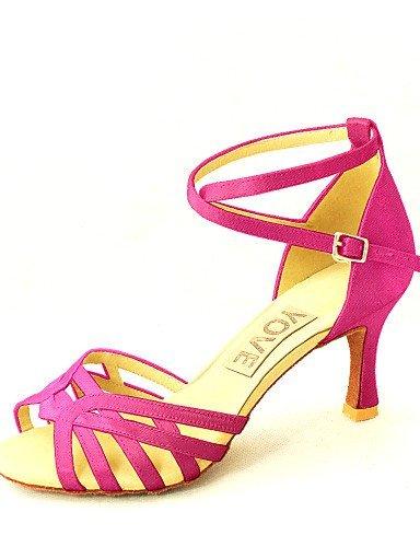 Customized Blue Yellow Women's Customizable Satin Pink Red ShangYi Dance Heel Latin White Yellow Fuchsia Shoes Black Salsa Purple TRvwn