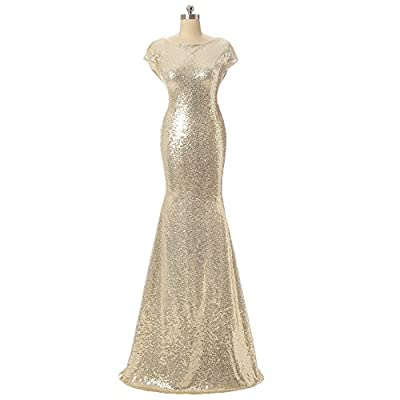 Aiyana Gold Mermaid V-Neck Backless Long Bridesmaid Dresses Wedding Party Gown