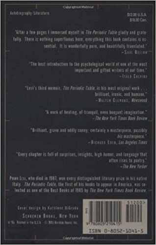 Amazon.com: The Periodic Table (9780805210415): Primo Levi: Books