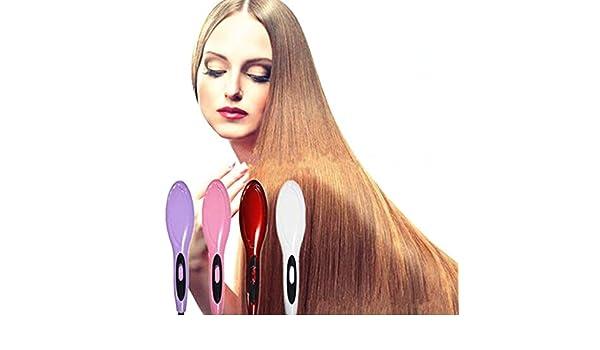 Amazon.com : Ceramic Fast Hair Straightening Brush Comb Hair Straightener Electric Straight Iron Electric Hair Brush Escova Alisadora HQT-906 red : Beauty