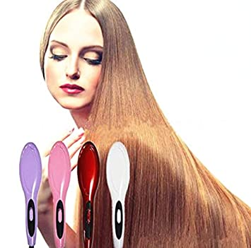 Amazon.com : Ceramic Fast Hair Straightening Brush Comb Hair Straightener Electric Straight Iron Electric Hair Brush Escova Alisadora HQT-906 pink : Beauty