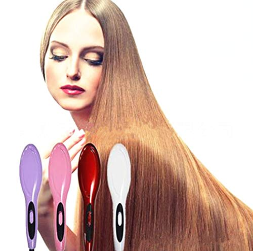 Amazon.com : Ceramic Fast Hair Straightening Brush Comb Hair Straightener Electric Straight Iron Electric Hair Brush Escova Alisadora HQT-906 red : Beauty