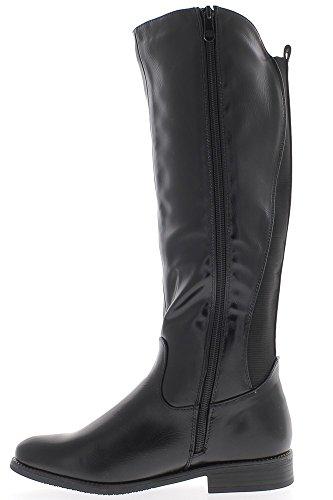 Donne nere stivali tacco alto 3cm con asta elasticizzato