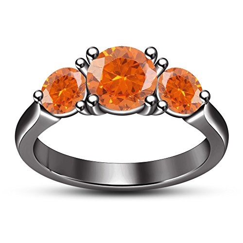 TVS-JEWELS Orange Sapphire Three Stone Ring In Black Rhodium Plated 925 Sterling Silver (9) -