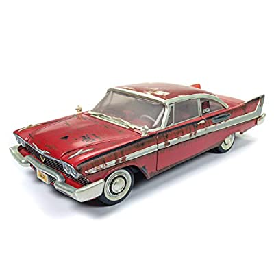 Auto World - Christine 1958 Plymouth Fury in Red - Dirty Version - 1/18 Scale Die Cast Collectible Model Muscle Car for Kids and Adults: Toys & Games