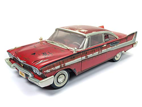 Auto World - Christine 1958 Plymouth Fury in Red - Dirty Version - 1/18 Scale Die Cast Collectible Model Muscle Car for Kids and Adults