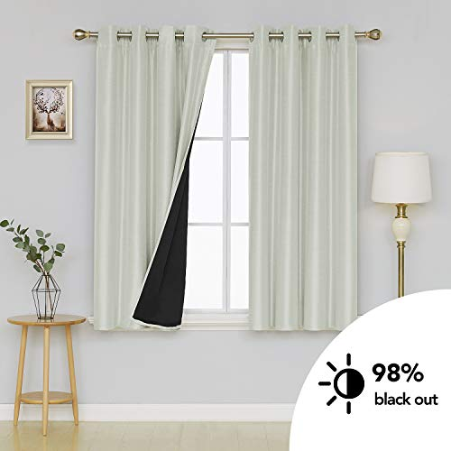 Deconovo Dupioni Faux Silk Lined Thermal Insulated Grommet Blackout Curtains for Bedroom 52W x 63L Inch Cream 2 Panels