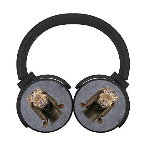 42u Memory - Noise Reduction Wireless HiFi Stereo Bass Over Ear Bluetooth Headphones Foldable Soft Memory Protein Earmuffs Pc/Cell Phones/Tv 3.5Mm Plug Print Sheep Looking Black