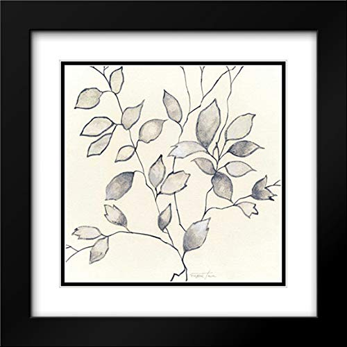 Whispering Leaves I 20x20 Black Modern Frame and Double Matted Art Print by Tava Studios