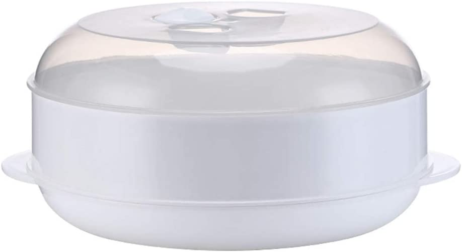 SPDD Practical 1/2 Tier Steamer Pot with Lid,Kitchen Microwave Steamer Cooking Pot Vegetable Fish Pasta Rice Steamer Pot Kitchen Steaming Utensils(1 Layer)