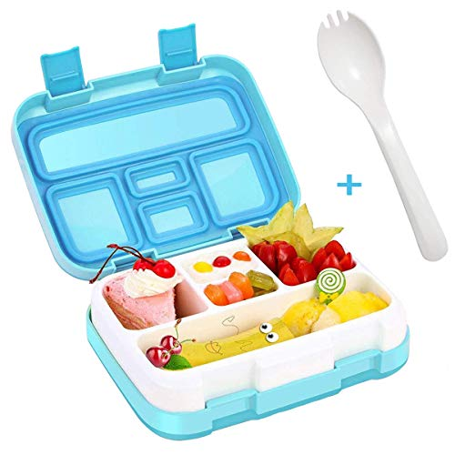 Lunch Box for Kids Bento Box BPA-Free Upgraded School Lunch Container with Spoon 5-Compartment Leak Proof Durable, School,Picnics,Travel Meal and Snack Packing Food Storage Container (Blue)
