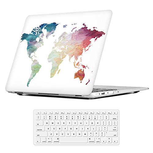 """iLeadon MacBook Air 13 inch Protective Hard Case Soft Touch Ultra Thin Shell Cover+Keyboard Cover for Older Version MacBook Air 13 inch Model A1369/A1466 (MacBook Air 13"""", White World Map) from iLeadon"""
