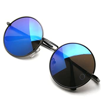 b19df3bfeaf Emblem Eyewear John Lennon Inspired Sunglasses Round Hippie Shades Retro  Colored Lenses (Blue Ice)  Amazon.co.uk  Clothing