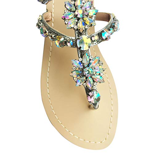 Sandals Silver Strap Flat Flops T Sparkle Beach Flip Thong Summer Women's Bohemian qZ4wvfPqa