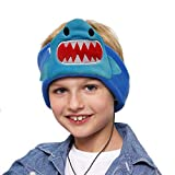 Contixo H1 Kids Soft Warm & Cozy Fleece Headphones Earphones Earbuds | Wired, 85dB Volume Limiting Animal Character Design (Shark)