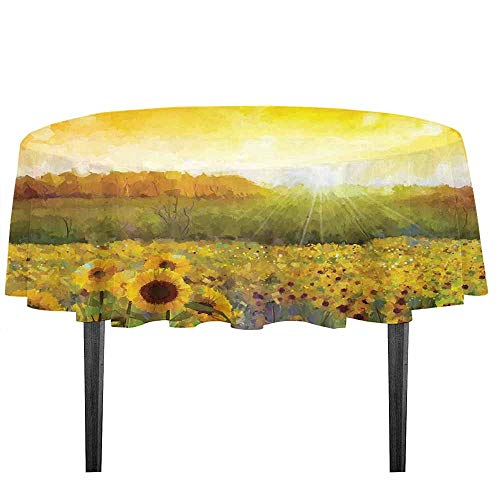 kangkaishi Sunflower Decor Printed Tablecloth Landscape Art with A Golden Sunflower Field and Distant Hill at Sunset Warm Colors Desktop Protection pad D51.18 Inch Orange Yellow ()