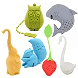 Creative Cute Animal Eco-friendly Silicone Tea Infuser Strainer Set of 6 PCS Elephant Shark Swan Squirrel Strawberry Owl Tea Steeper Tea Lover's Gift