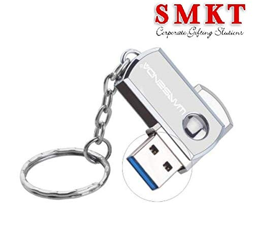 SMKT™ Waterproof Metallic Swivel Pen Drive Key Ring USB Flash Drive PenDrive 32  GB
