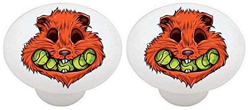 SET OF 2 KNOBS - Sport Tennis Balls Beaver Beavers - DECORATIVE Glossy CERAMIC Cabinet PULLS Dresser Drawer - Tennis Ball Knob